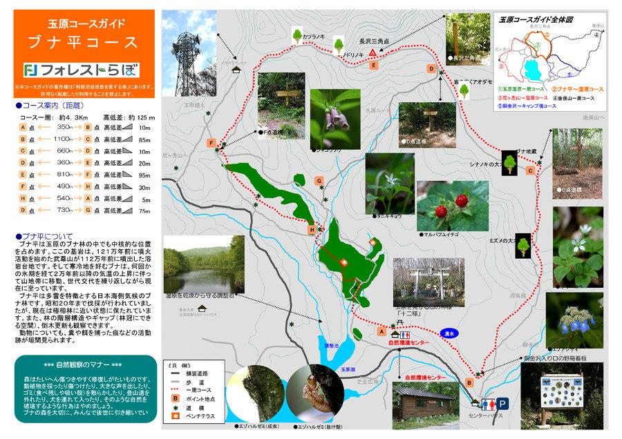 ブナ平〜玉原湿原コースの地図